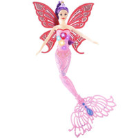 Wholesale Hair Model Dolls - Mermaid Barbie Toy Colorful Light Wing Removable Princess Fairy Doll Delicate Face Soft Hair Two Styles 40CM 20 6yx I1
