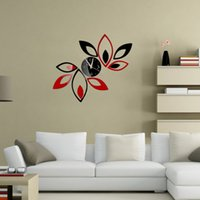 Wholesale Black Red Wall Clocks - Wholesale- Fashion Multi-piece Set Black And Red Modern Flower Stickers DIY Home Decoration Mirror Wall Clock Sticker