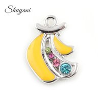 Wholesale Banana Crafts - Enamel Crystal Banana Charms Pendants for Fashion Women Jewelry Making DIY Handmade Craft Accessories 23*16mm Silver Gold Plated
