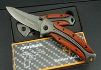 Wholesale hot browning knife - Hot Sale Browning DA58 folding knife 3Cr13Mov Blade Rose wood Handle outdoor hunting tools combat knives edc tools Free shipping