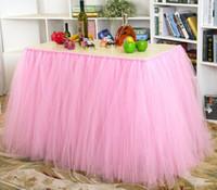 настольные юбки для свадеб оптовых-Тюль таблица юбка пачка украшение стола для свадьбы приглашение дни рождения ребенка свадебный душ партии бесплатная доставка WQ19