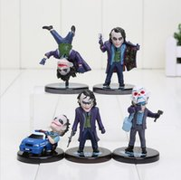 Wholesale Set Pvc Action Figures - The Dark Knight Joker 5pcs set PVC Action Figure The Avengers Collectible Model Toy 3.5~5.8cm