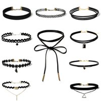 Wholesale Pearl Choker Necklace Gothic - 10pcs set Sexy Black Gothic Punk Velvet Tattoo Lace Choker Necklace Long Pendant Jewelry Women Lady Collar Chocker Y#173 Q#62