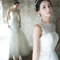 Wholesale Organza Dot Ribbon - Lace Dot Tulle Wedding Dresses Vestido de noivas A line Romantic Illusion Neckline Custom Made Real Photo Bridal Gown