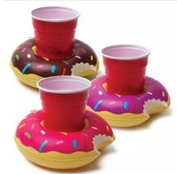 Wholesale Kids Bath Toy Holder - Inflatable PVC Drink Holder Palm Doughnut Cup Holder Outdoor Swimming Bath Kids Toys Water Floating Party Decorations