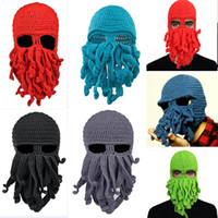 Wholesale Knitted Octopus Hat - Handmade Knit Octopus Hat Adult Children Beanie Hat Cap Halloween Funny Party Masks Neck Face Mask Cycling Cosplay Ski Biker Headband HH7-33