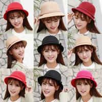 Wholesale Ladies Wool Church Hat - Autumn Winter Warm Fashion Dome Fedora ladies Wool Hat Women Hats Vintage Retro Bowler Fedoras Caps