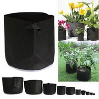 pflanzenbehälter groihandel-Non Woven Grow Bag Beutel Wurzelbehälter Grow Pots Outdoor Gardening Pflanzbeutel Kultivierungsbeutel OOA1561