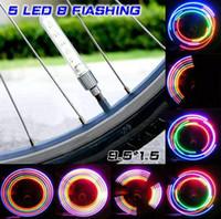 Wholesale Manual Valve - 2017 nwe 5 LED bicycle tyre light hot wheel American valve bike LED light 32 patterns changeable manual switch wheel light