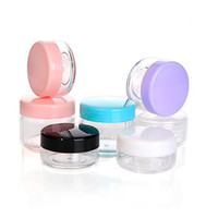Wholesale Pot Lid Base - colorful Lid Round Base Jae 10g 15g 20g Cream Bottle Jars 10ml Plastic Cosmetic Container Clear PS Pot Makeup Sample Jar Packaging F2017279