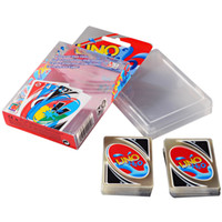 Wholesale Uno Card Game Plastic - UNO poker card Crystal PVC waterproof standard edition family fun entertainment board game Kids funny Puzzle game