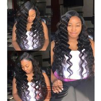 Wholesale Swiss Lace Make Wigs - Virgin Peruvian Deep Wave Wigs Custom Made Soft Wigs For Women Virgin 8A Natural Human Hair Hand Tied Lace Wig with Swiss Lace