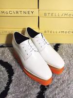 sapato laranja sapatas venda por atacado-Sapatos de cunha de moda Stella Mccartney sapatos branco couro genuíno superior laranja sola baixa Top estrelas