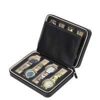 Wholesale Box For Pack Watches - Luxury Black Zippered Sport Storage leather Watch box for 8 watches Portable Travel Watch packing box storage box zipper bag