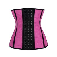 Wholesale Latex Rubber Clothes - 9 Steel Bone Two Layers Latex Rubber Corset Waist Training Corsets Clothing Sexy Women Punching Latex Waist Cincher Corselet 2358