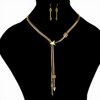 Unique design Arrow Jewelry Set Boho Antique Silver / Gold Collier en chaîne Ensemble boucles d'oreilles pour bijoux féminins