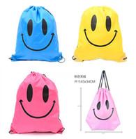 Wholesale drawstring bags for children - fashion Cute Emoji Drawstring Bags for Women Mens Children Cartoon Unisex Emoji Backpacks Fashion Smile Printed Student bags