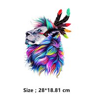 Wholesale Denim Shirt Hoodie - Europe style watercolor lion Stickers 28*18.81cm patch T-shirt Hoodies denim jacket Sweater thermal transfer iron on patches