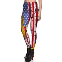 Wholesale plus size workout pants - 2017 NEW 3888 USA Flag Wonder Women in Battle Prints Sexy Girl Pencil Yoga Pants GYM Fitness Workout Polyester Women Leggings Plus Size