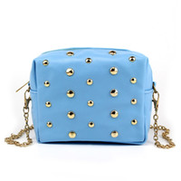 Wholesale-Fashion Rivet Chain Shoulder Bag Marca Designer Mulher Couro Messenger Bags Clutch Bag Trendy Ladies Purse Crossbody Bag Bolsas