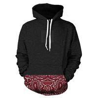 Wholesale Vintage Hooded Sweatshirts - Wholesale- Hooded Men Sweatshirt 3D Red Vintage Floral Hem Print Casual Hoodies Creative Long Sleeve Pullovers Cool Design Black Hoody