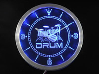 Wholesale Neon Sign Bands - Wholesale- nc0406-b Band Room Drum Rock n Roll Music Neon Sign LED Wall Clock