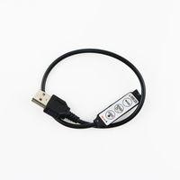 müzik rf uzaktan kumandalı rgb toptan satış-USB RGB Kontrolör 5-24 V Led Dimmer ile 3 Tuşlar 4Pin Dişi konnektör 5 V RGB Led USB şerit için 19 Dinamik Modları ZJ0190