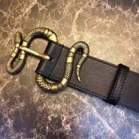 ingrosso cintura in pelle nera per fibbia-Vendita calda nuova cintura nera delle donne degli uomini Cinture di affari del cuoio genuino Cinghia del serpente del modello della cinghia di colore puro per il regalo