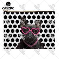 ingrosso occhiali cosmetici neri-Bulldog divertente in bianco e nero Polk Dot Bulldog con occhiali Cane modello Canvas Print Cosmetic Bag Makeup Pouch Wristlet Hand Bag