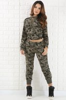 Wholesale Woman Fashion Camouflage Pants - 2017 Fashion spring Autumn long sleeved Camouflage suits womens tracksuits uniform Outfit 2 Piece Pants Sets Camouflage Sweat Sports Suits