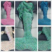 Wholesale Mermaid Wool - Cute Mermaid blanket wool knitting blankets mermaid tail blanket children 's winter sofa blanket 180*90 cm A0667
