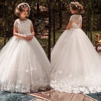 Ivory Tulle Flower Girl Платье кружева с коротким рукавом Party Formal Gowns Pageant 2017