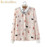 Wholesale Blouse Cats Women - New Spring Autumn Women chiffon Blouse Cat Embroidery collar Long Sleeve Work Shirts Women office cat printed Tops for business