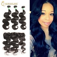 Unprocessed бразильская Virgin Human 3 Hair Bundles с 13x4 кружевами Фронтальное закрытие Body Wave 1B Color Wet and Wavy Free Shipping Queenlike 7A