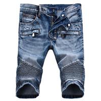 Wholesale jeans punk slim - Wholesale- 2017 Mens Summer Short Jeans Plus Size 27 - 42 Men's Slim Shorts Denim Knee Shorts Jeans For Men Hip Hop Punk Designer Clothing