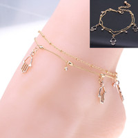 Wholesale Rose Gold Anklets - Double Rows Ankle Hollow Rose Flower Chain Anklets Foot Leg Chain Foot Jewelry for women Barefoot Beach jewelry woman