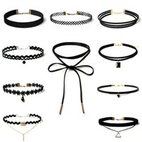 Wholesale Wholesale Leather Lace For Jewelry - Jewelry Wholesale 10pcs lot Women's Chocker Trendy Lace Chokers Necklaces for Women Black Velvet Choker Leather Necklace