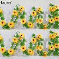 Artificiale giallo girasole Garland seta Wedding Flowers Arch Gazebo Decor Vines