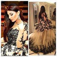 Wholesale Cheap Black Abayas - 2017 Arabic Evening Dresses Muslim Long Sleeves Formal Dubai Kaftan Abaya Party Prom Party Gowns See Through Black Lace Custom Made Cheap