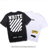 Wholesale Clothing Paint Spray - 2017 Spring summer Europe T-shirt tee streets off white Diagonal stripes Spray painting High street fashion clothing black white XL