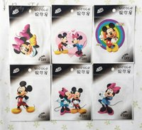 Wholesale Minnie Stickers - Hot Sale! Mickey and Minnie Cartoon Individual clothes decoration DIY Iron Sticker 50pcs lot Iron On Heat Transfer Glitter Stickers
