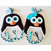 Wholesale Penguin Animal Hat - Novelty Adorable Penguin Laplander Hat,Handmade Knit Crochet Baby Boy Girl Twins Animal Earflap Hat,Child Winter Cap,Infant Toddler Photo Pr