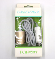 Wholesale Universal Seat Charger - 2USB Car Charger Rear Seat Charging Line 1.5m 3.1A Fast Car Chargers Dual-Port Circular Metal Car Adapter