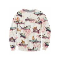 Wholesale Wholesale Sweat Outfits - Wholesale- Sharks and Kittens Sweatshirt floral design Long Sleeve 3d print Sweats Women Men Jumper Outfits Tops Outerwear Hoodies