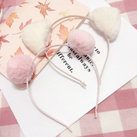 Wholesale Cosplay Animal Ears - Girls party hair bands children plush cat ears hair sticks fashion kids pompons cosplay headdress kids photography accessories C1866