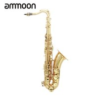 Wholesale Button Clean - Wholesale- Brass Bb Tenor Saxophone Sax Carved Pattern Shell Buttons Wind Instrument with Case Gloves Cleaning Cloth Grease Belt Brush