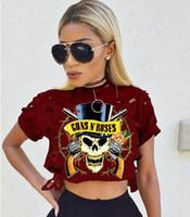 seksi mini rock toptan satış-Seksi Delik Kadın T-Shirt 2017 Yeni varış Ünlü Rock Band Guns N güller Baskılı Kesilmiş Tops Kısa Kollu Penye Pamuk Tee Gömlek Tops