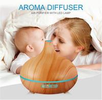 lampes pour bureau achat en gros de-300ml Air Humidificateur Huile essentielle Diffuseur Lampe Aroma Aromatherapy Diffuseur de parfum électrique Aroma Maker pour Home-Wood