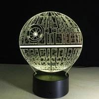Wholesale Christmas Trees Wholesale For Decor - Star Wars Death star 3D LED Night Light Touch Switch Table Lamp USB 7 Color Room Decor Colorful LED Lighting for Gift IY803327