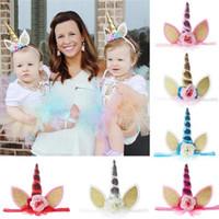 saç bandı kostümü toptan satış-Narin Bebek Unicorn Boynuz Kafa Elastik Hairband Kızlar Doğum Günü Partisi Için DIY Saç Cadılar Bayramı Bebek Aksesuarları Cosplay Kostüm Takı